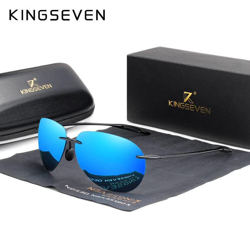 KINGSEVEN 2019 Ultraligero TR90 sin montura gafas de sol de los hombres de alta calidad sin marco Gafas de sol para las mujeres Oculos Femenino