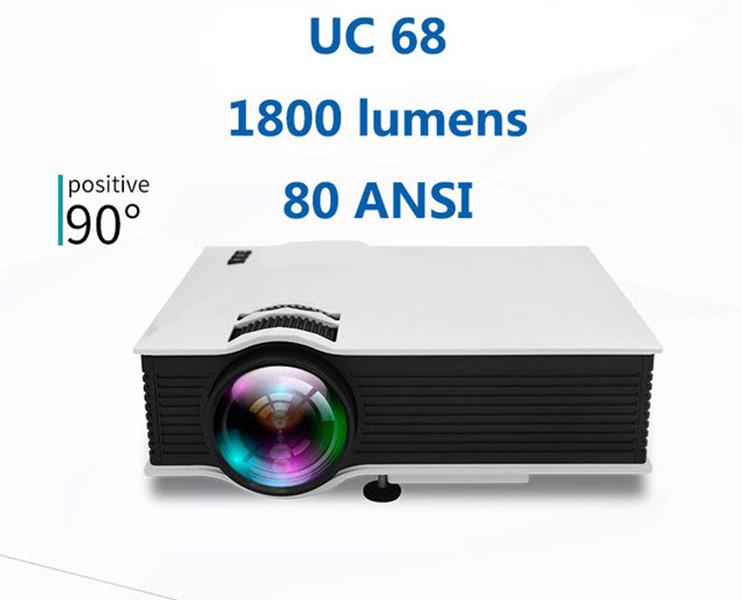 Freeshipping New Upgrade UC68 Full HD1800 lumens led projector Home Theatre Multimedia Support Miracast Airplay USB HDMI VGA