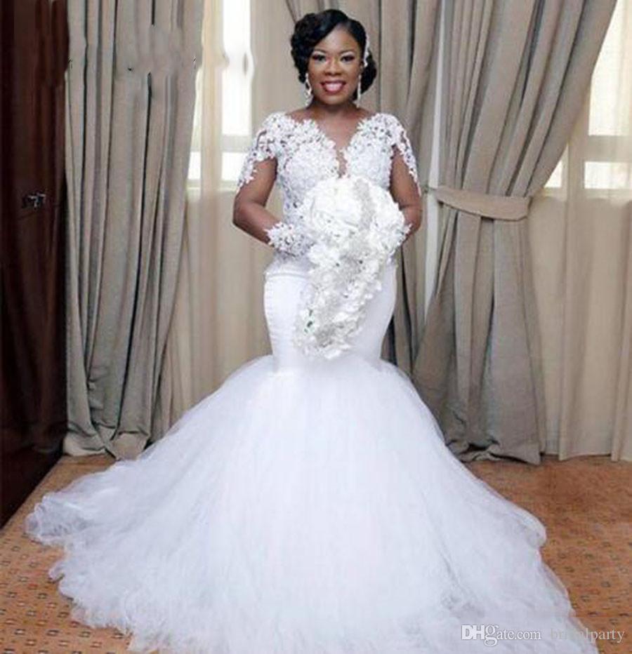 Vestido de novia de sirena de manga larga blanco africano Nigeria con encaje Vestidos de novia de talla grande Vestidos de novia Robe de soirée