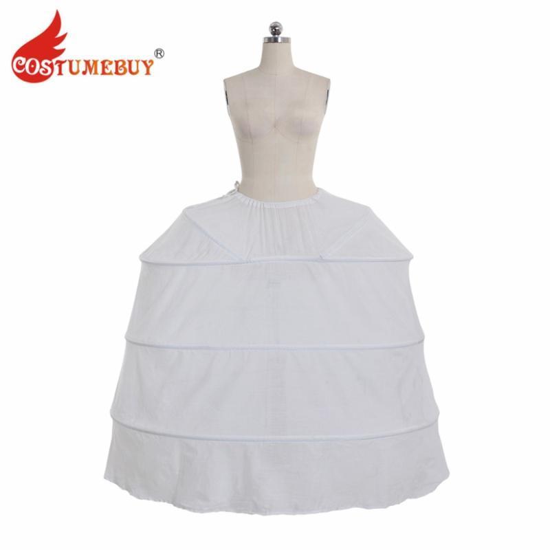 Costumebuy Médiévale Victorienne Rococo Robe Robe Jupon Plein Crinoline De Noce Underdress Jupon Jupon 4 Hoop