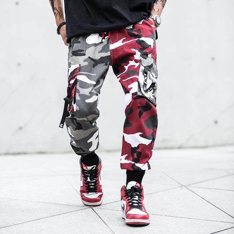 Camouflage Splice jogging pantaloni Uomini Camo Streetwear Mens Cargo Pants Hip Hop pantaloni multitasche in cotone militare Tuta Maschio LY191206