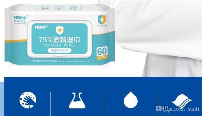 Novo protetor 60pcs / caixa de desinfecção anti-séptico Pads álcool Cotonetes Wet Wipes Limpeza de Pele Limpeza Cuidados Esterilização First Aid Box Tissue