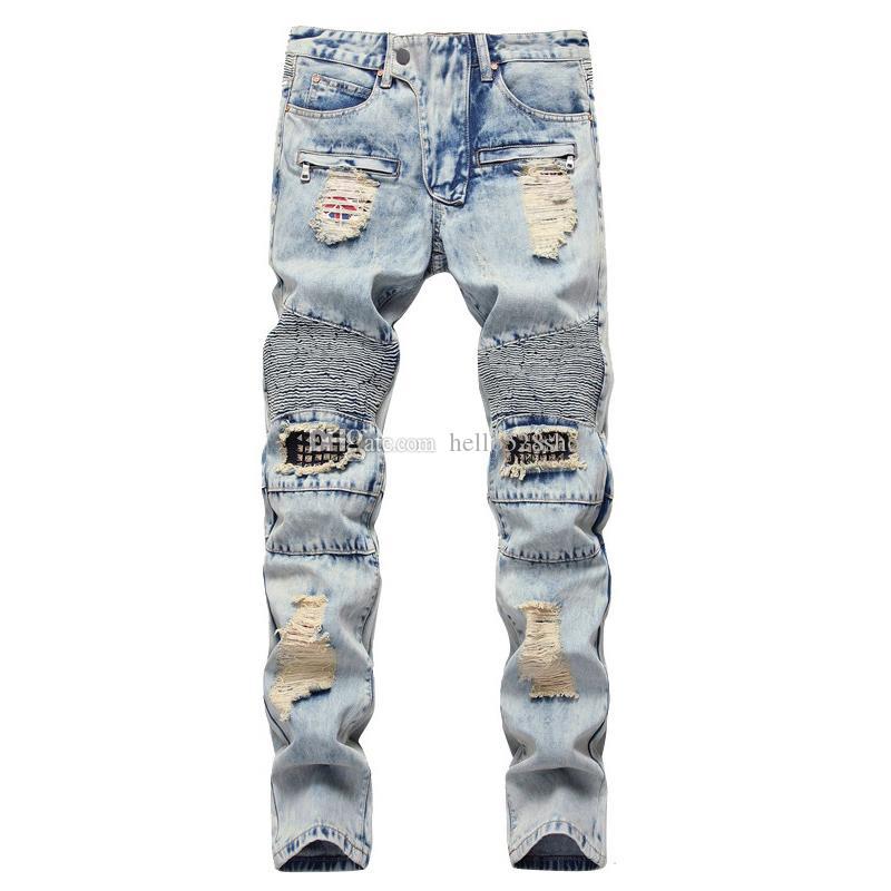 Erkekler Tasarımcı Patchwork Pantolon Biker Pantolon için Orijinal Tasarım Fermuar Motosiklet Diz Delik Perçinli Düz Jeans