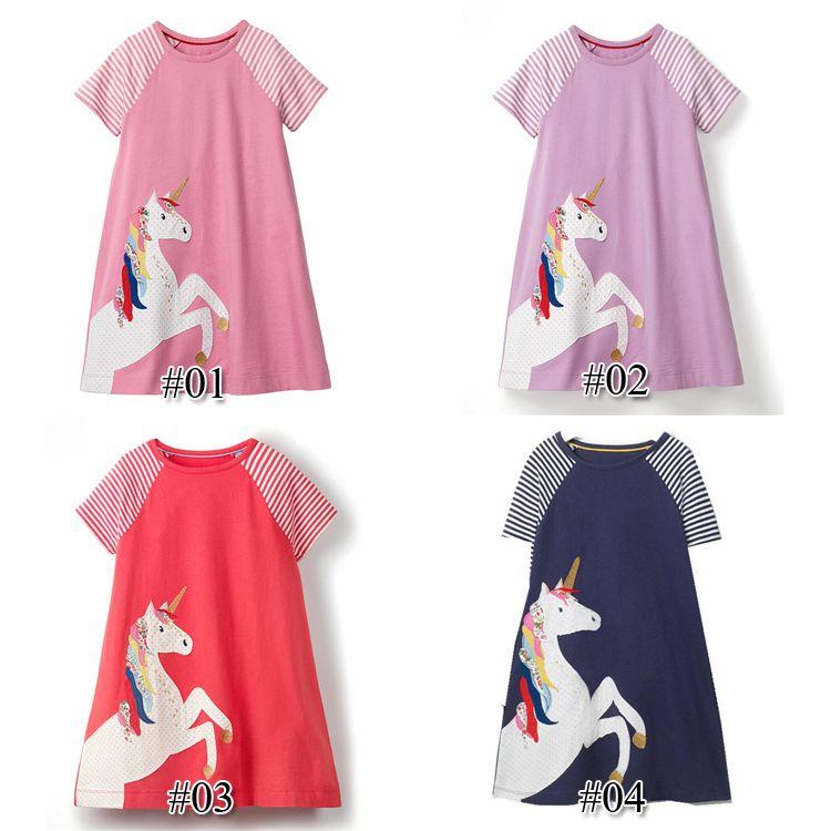 Unicorn 100% listrado dos desenhos animados Cotton Dress Crianças roupas de grife meninas vestido de manga curta Roupa do bebê Túnica meninas Vestidos TFJ159