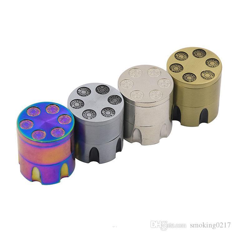 Mini Bullet pas cher 3parts Grinder arc-en-40mm 6 Shooter Revolver herbe en métal tabac sec Grinder pour fumer