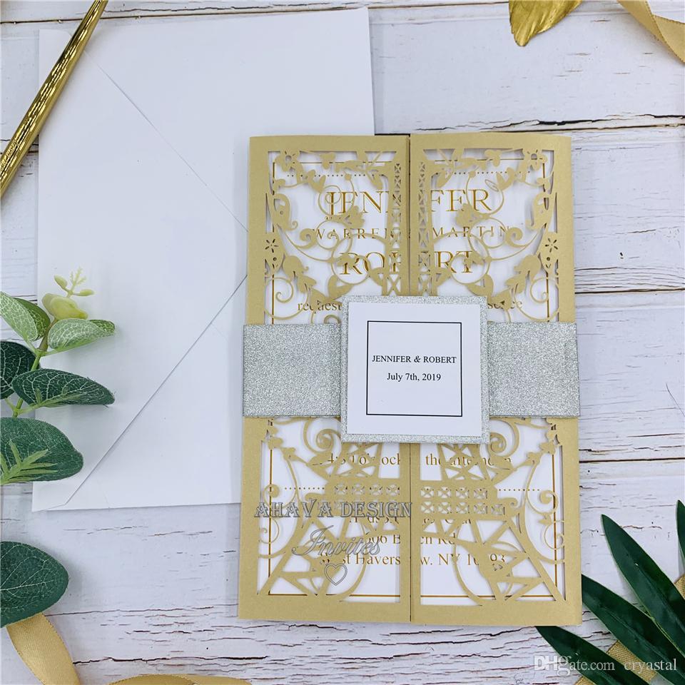 Tarjetas de invitación huecas de oro Tarjetas de invitación de boda de encaje personalizables + banda de vientre, invitación personalizada, diseño gratuito