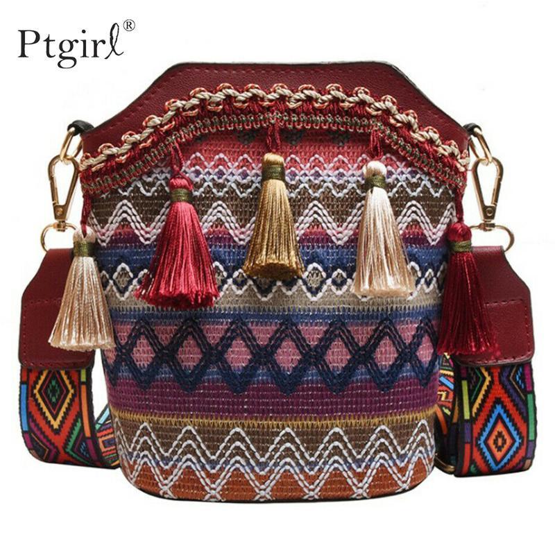 2020 nuovi donne calde estate delle signore di Boho Style Vantage Tote Bag per le donne Ptgirl Retro borsa della spalla della borsa della nappa Messenger