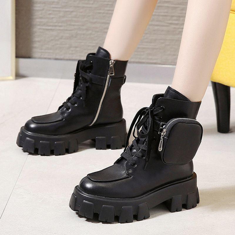 Kış Boots Lady Patik kadına ayakkabı 2019 Düşük Topuk Lace Up Yuvarlak Burun Çizme-kadın 2020 Sonbahar Lolita Orta Buzağı