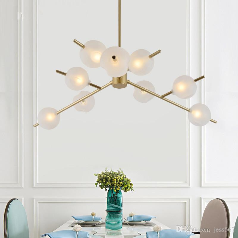 Nordic pastoral restaurant bar living room pendant light modern glass ball branch clothing store pendant lamp110V ``260V