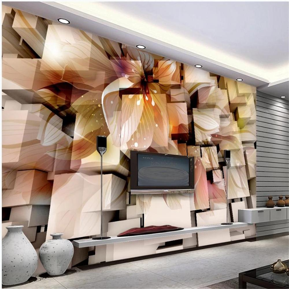 Custom wallpapers 3D three-dimensional fantasy flower living room TV background wall decoration painting