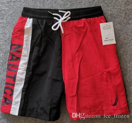 Shorts nautica da uomo 2020 pantaloni di estate a vela Casual Trunks Pocket Classic Cotton Beach Swimwear maschile a righe brevi trouers Red XXXXL