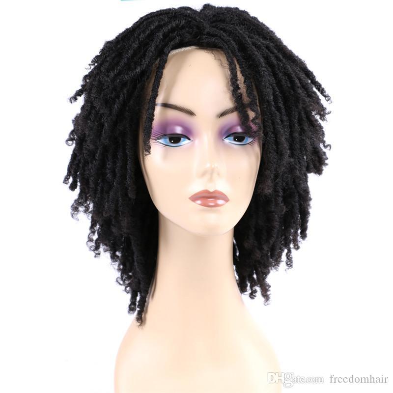 Synthetic Dreadlock peruca de cabelo 140g / pc da Mulher Negra 6 polegadas Ombre Borgonha Brown Cor curto encaracolado Faux Locs Tranças Perucas