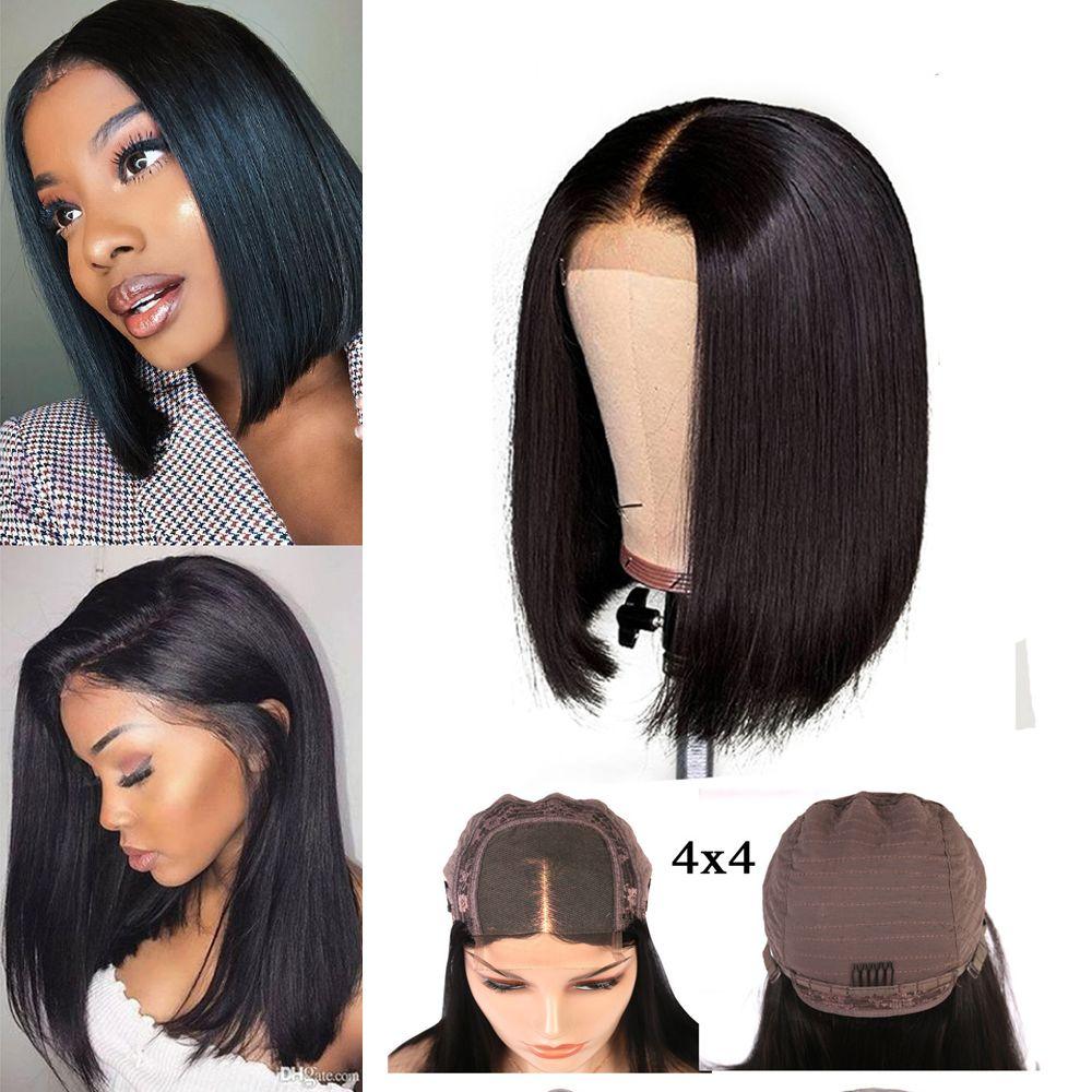 Необработанные бразильские человеческие волосы Боб кружева закрытие фронтальный парик 4x4 короткие Боб парики класс 9A бразильские прямые волосы 150% плотность парики