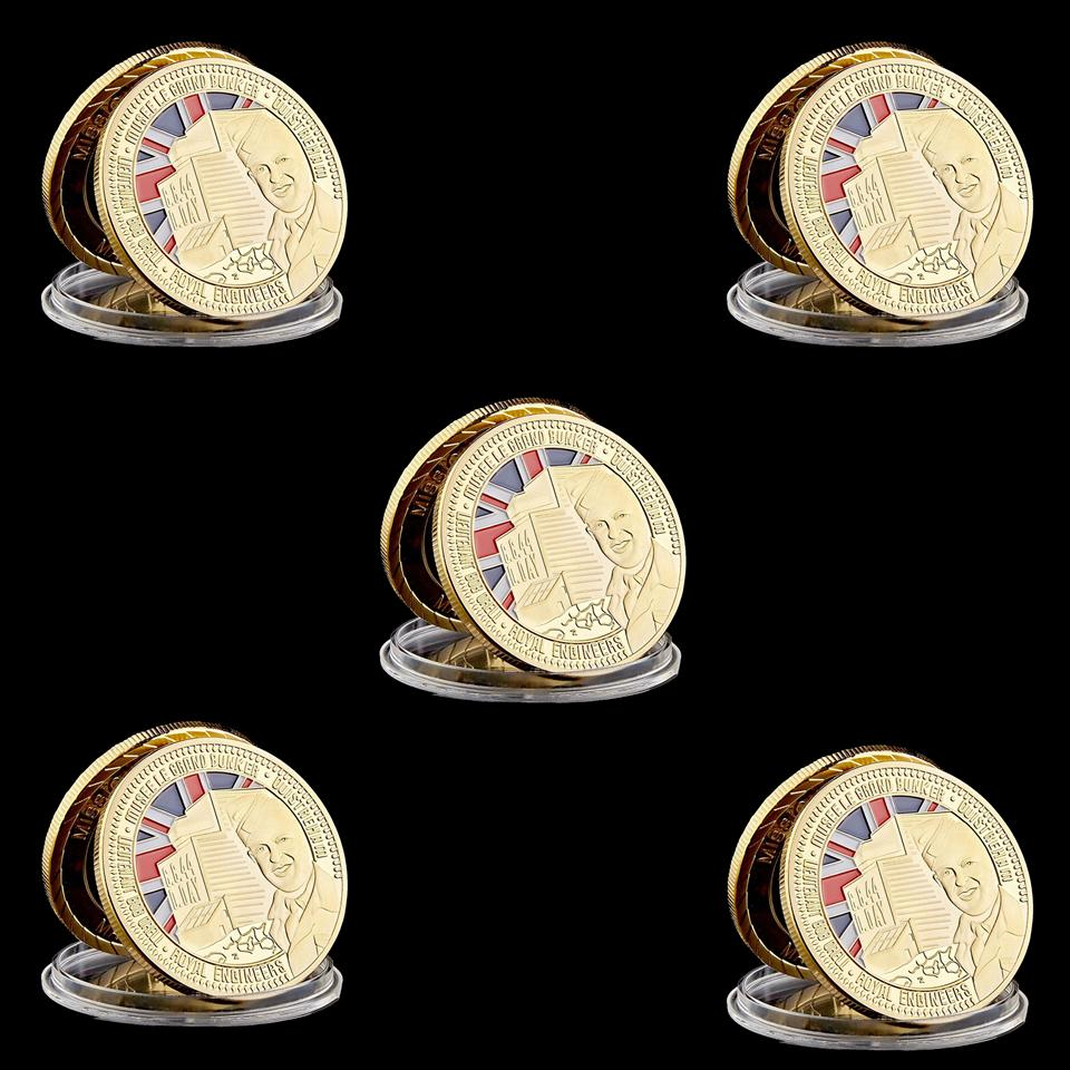 5pcs Royal Engineers Sword Beach 1oz Gold Plated Military Commemorative Challenge Coins Souvenir Collectibles Gift