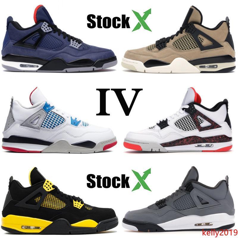 Üst Jumpman 4 4 s erkekler basketbol ayakkabıları 2020 ne siyah kedi Thunder Winterized sadık Mavi tasarım Ayakkabı Spor ayakkabılar boyutu 7-13