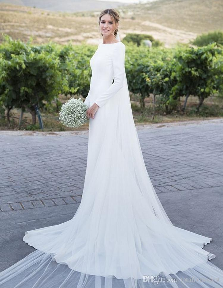 New Simple Country Sheath Modest Wedding Dresses 2020 With Long Sleeves Low Back Court Train Crepe Long Bridal Gowns Sleeved