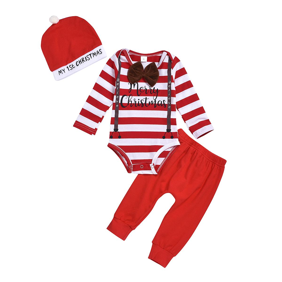 3PCS Set ragazzo neonato manica lunga Papillon a righe tuta di Tops mutanda lunga Cappello Outfits Natale che coprono insieme