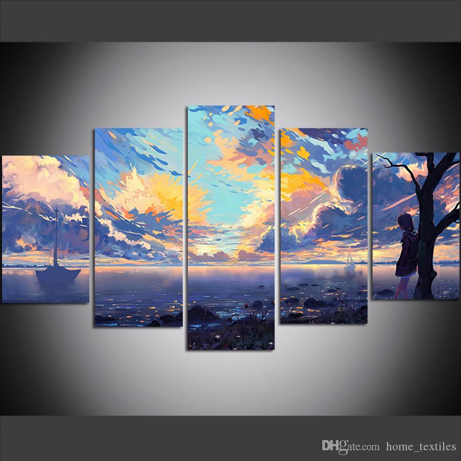 5 Piece Large Size Canvas Wall Art Pictures Creative Five Color Lake in Jiuzhai Valley Poster Art Print Oil Painting for Living Room