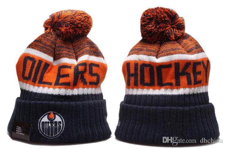 Novas Gorros Oilers Hóquei 2020 Knit Beanie Hot Pom malha chapéus pretos azul do basebol Futebol Basquete Esporte Gorros Mix Jogo Order Todos os Caps