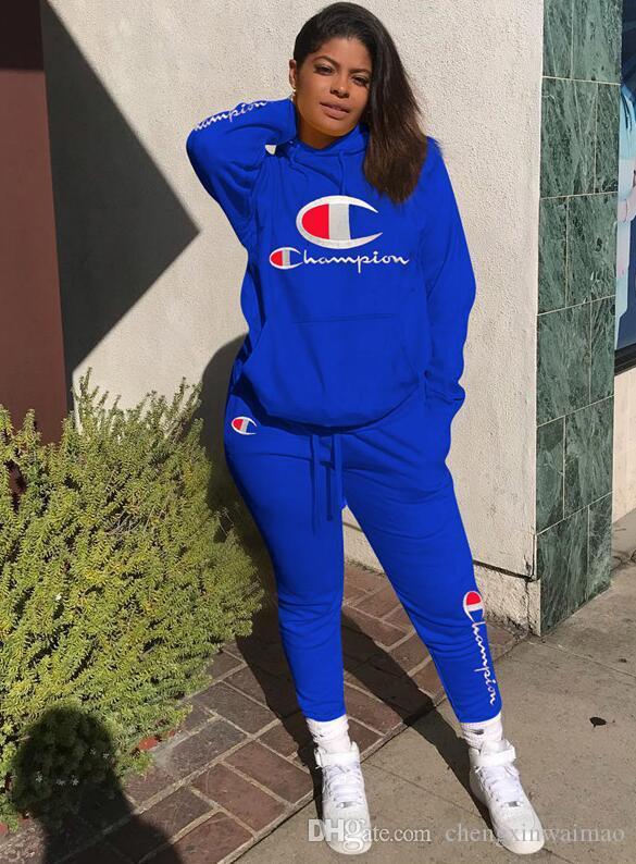 여성 스포츠 운동복 풀오버 후드 바지 2 개의 조각 여자 집합 복장 캐주얼 여자는 정장 Sweatsuits 의류 의류 땀
