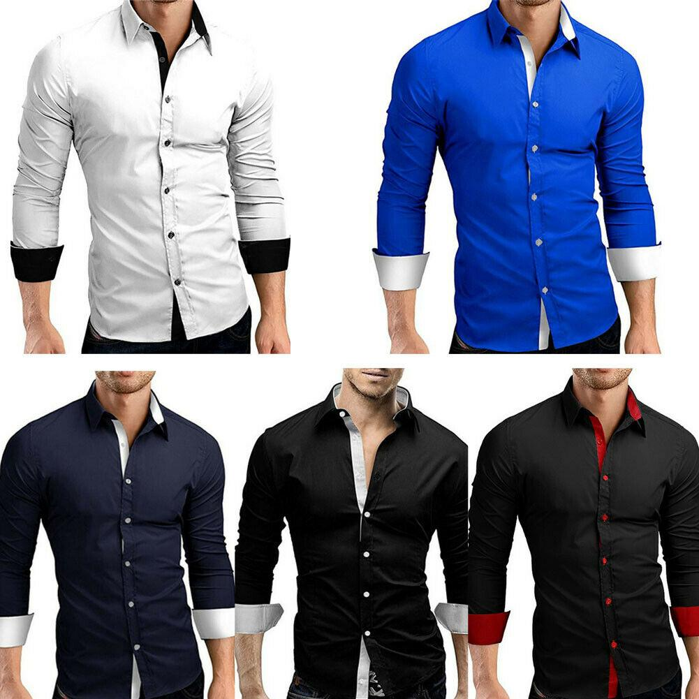 UK Men Long Sleeve Business Dress Tee Luxury Slim Fit Formal Casual Shirts Tops