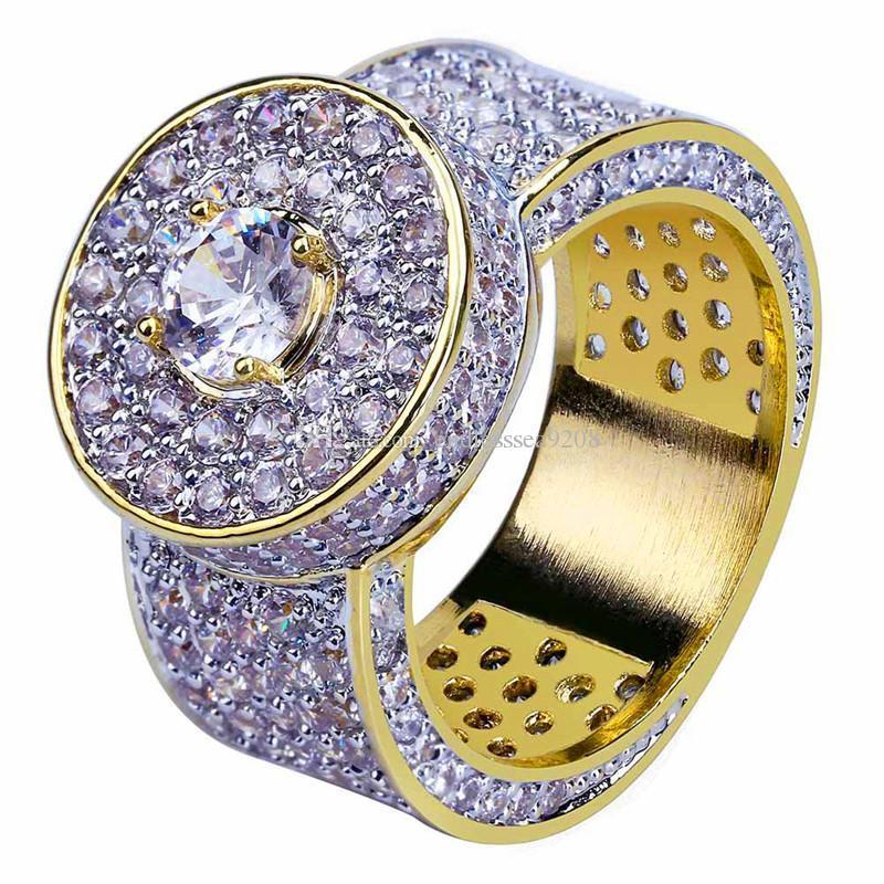 بلينغ زركون خواتم للرجال 2019 حار فاخر 18 كيلو مطلية بالذهب الهيب هوب مجوهرات ماركة تصميم الهيب هوب جوهرة الدائري