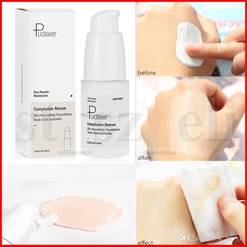 Pudaier Face Makeup Skin Temperature Color Changing Liquid Foundation Complexion Rescue Nude Fuid Concealer Powder Moisturizer 25ml