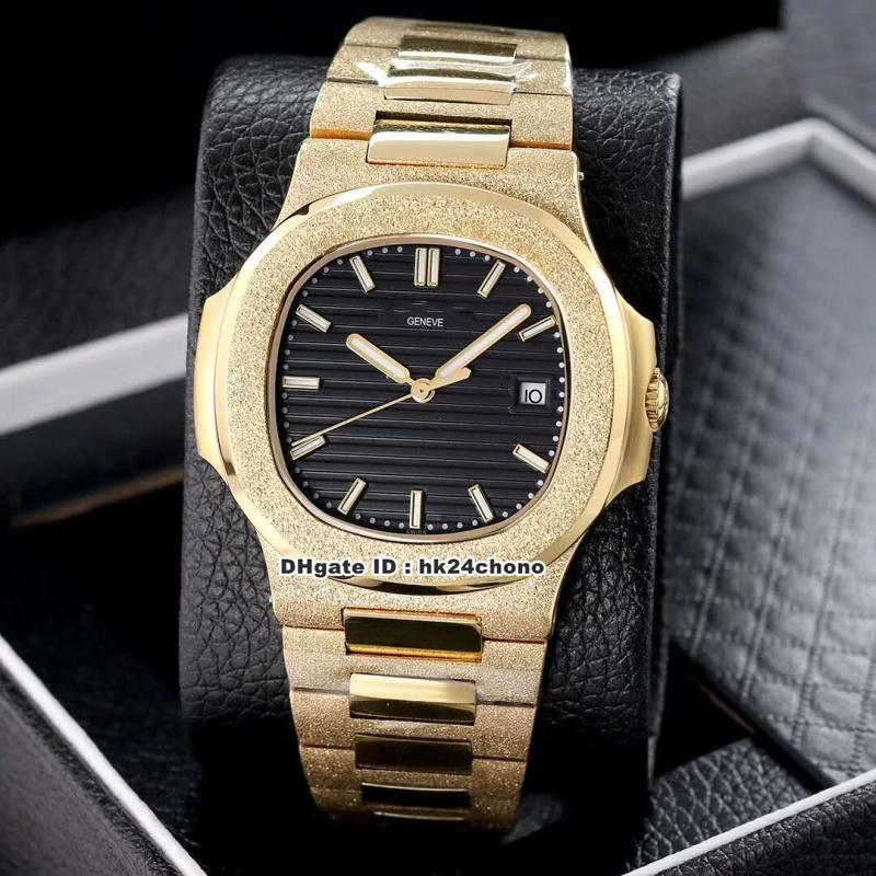 18 Mejor Estilo 40mm Nautilus 5711/1 esmerilado para hombre 18K reloj mecánico automático Negro Dial correa de acero esmerilado caballero relojes deportivos
