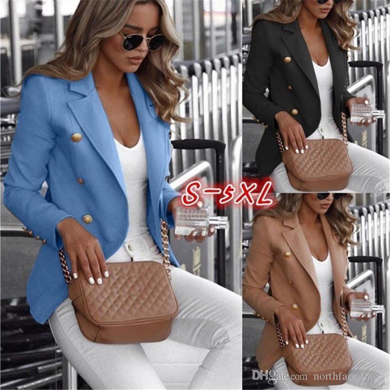 Plus Size Giacchette solido Colore Doppio Petto Womens Tops Laple collo femminile Abbigliamento nuovo arrivo