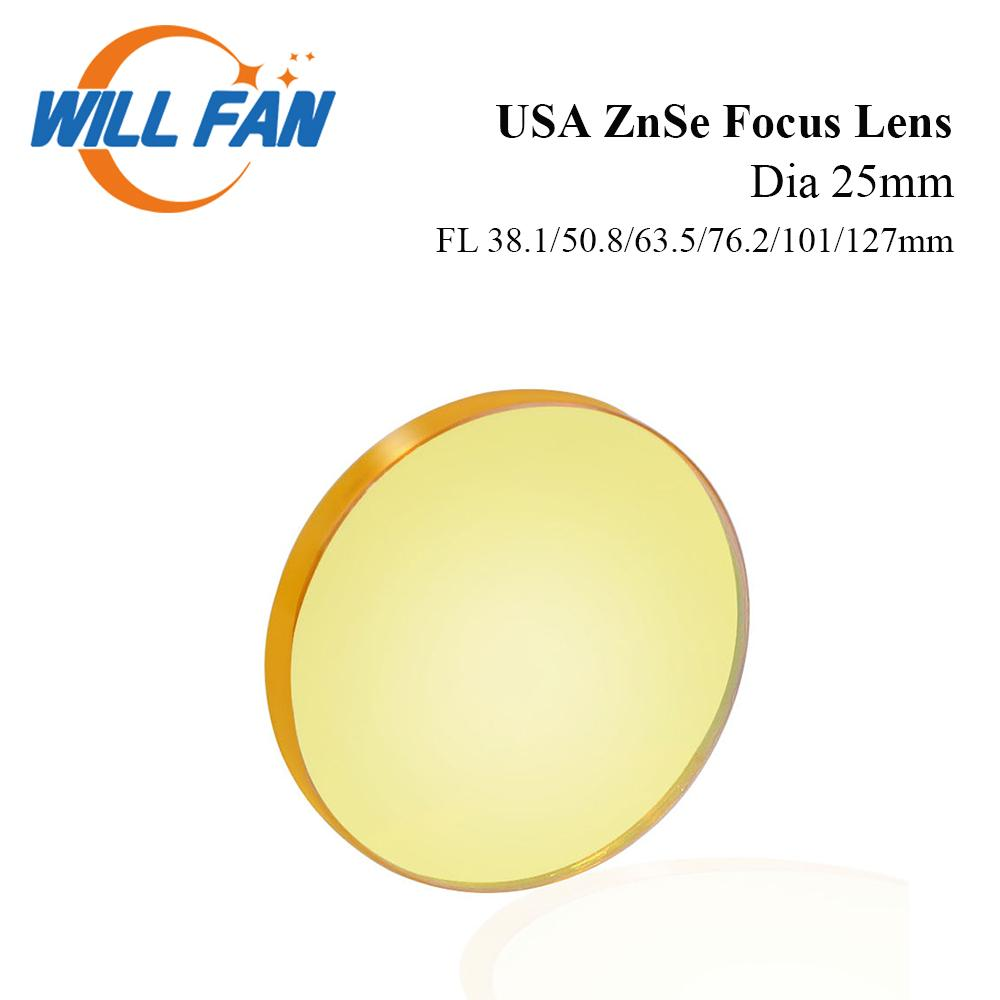Will Fan Dia 25mm USA ZnSe Focus Lens FL 38.1mm 50.8mm 63.5mm 76.2mm For Co2 Laser Engrave Cutter Machine