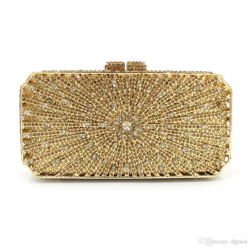 Gold Damenmode Kristall Abendtasche Frauen Tasche Hochzeit Metall Minaudiere Clutch Handtaschen und Geldbörsen Designer-Diamant-Hochzeit Box Kupplungen