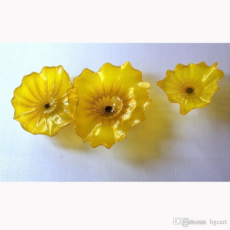 زجاج مورانو الثريا الإضاءة مقاطعة قوانغدونغ الصينية على شكل زهرة الزجاج لوحات اليد في مهب زجاج النحت جدار الفن