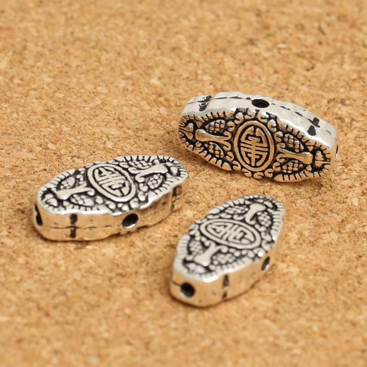 S925 Zubehör Silber Thai Silber DIY Sterling DIY flache Langlebigkeit flacher Schmuck Loch Vier-Loch-Perlen Mehrzweck Perlen iGn3h