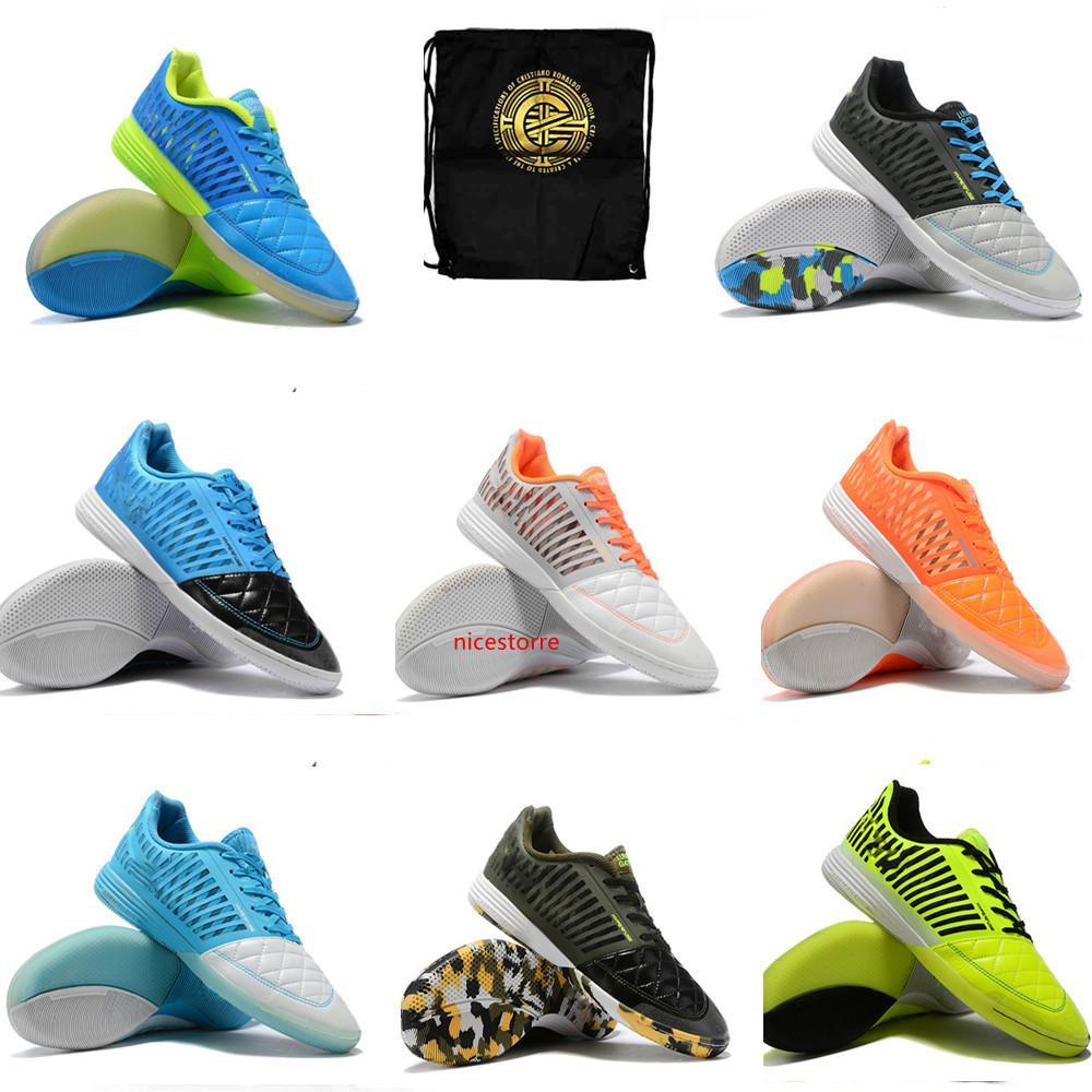 Il nuovo arrivo 2019 della pelle del cuoio Indoor di calcio dei morsetti goto scarpe leggere Mens Lunar Gato II IC Scarpe da calcio Lunarlon intersuola di capra morbido 39-45