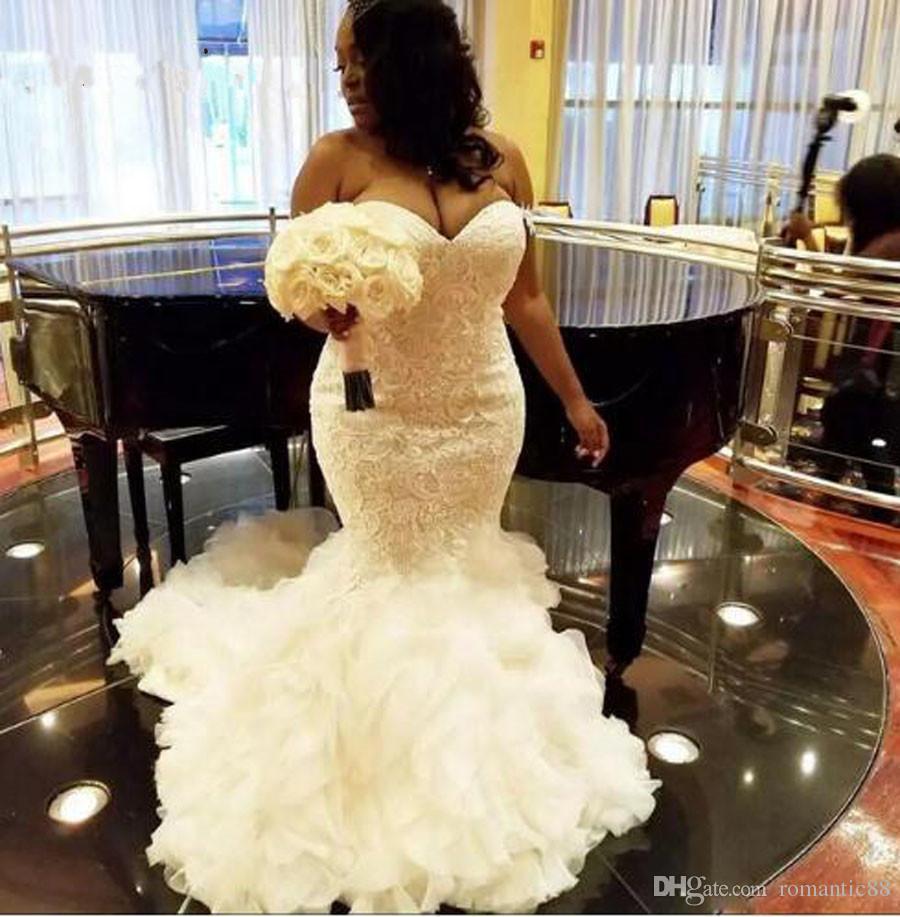 우아한 레이스 자수 웨딩 드레스 아프리카 퓨어 화이트 인어 웨딩 드레스 2019 플러스 크기 MARIAGE 새로운 웨딩 드레스