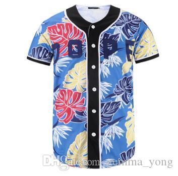 2020 ملابس الصيف للرجال البيسبول الفانيلة قصيرة الأكمام 3D الزهور طباعة أزياء لاعب قاعدة جيرسي البيسبول قميص القمم زر