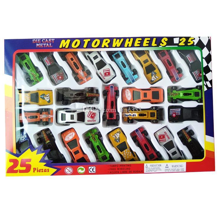 حار سيارات نموذج اللعب قذيفة معدنية محاكاة نموذج سباق الأطفال لعبة هدية مجموعة 25 قطعة / صندوق التغليف السفينة مجانية عبر dhl