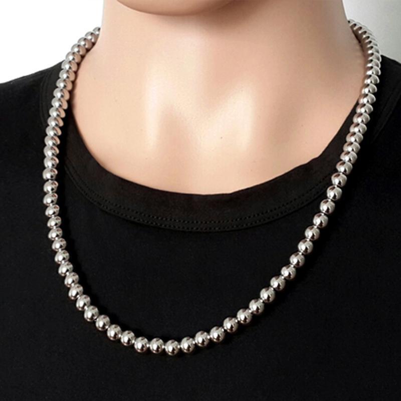 homens colares de aço inoxidável grandes contas steampunk personalizado longo colares de prata jóias por atacado 2020