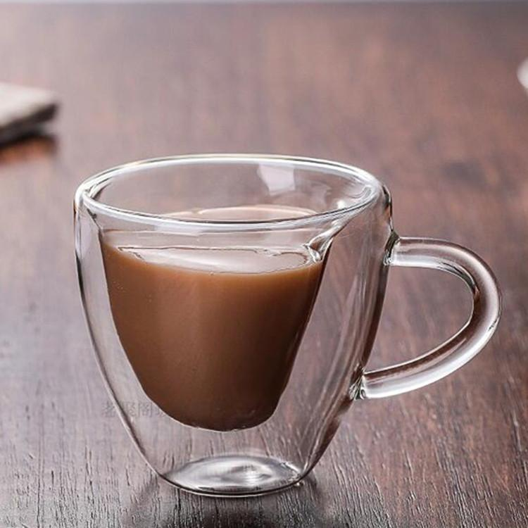 Duplo Canecas com o cabo canecas Beber duplo isolamento parede de vidro do copo de chá Presente criativo Copos de Leite