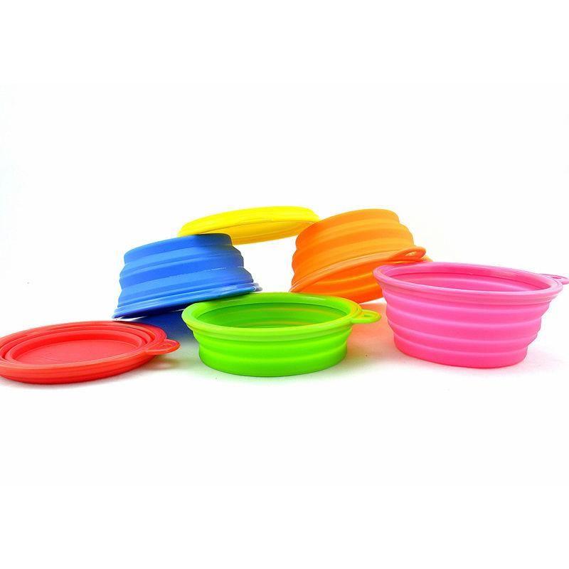 Pieghevole pieghevole cane ciotola silicone della caramella di colore corsa esterna portatile cucciolo Doogie piatto alimentatore contenitore per alimenti