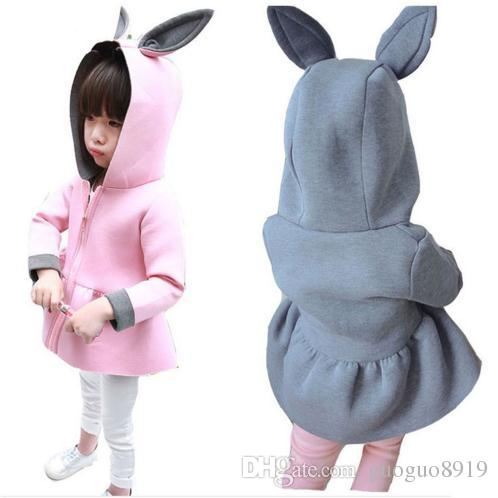 Fashion Autumn Girls Coats Baby Air Cotton Jackets Cute Bunny Ears Coat Spring Girl's Clothes Hoodied Christmas Gift Pink Coats