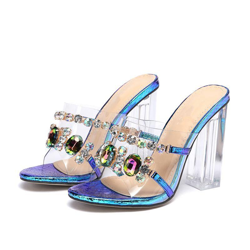 Women Sandals new outer wear thick heel large size bright diamond gem sexy high-heeled sandals and slippers 35--42