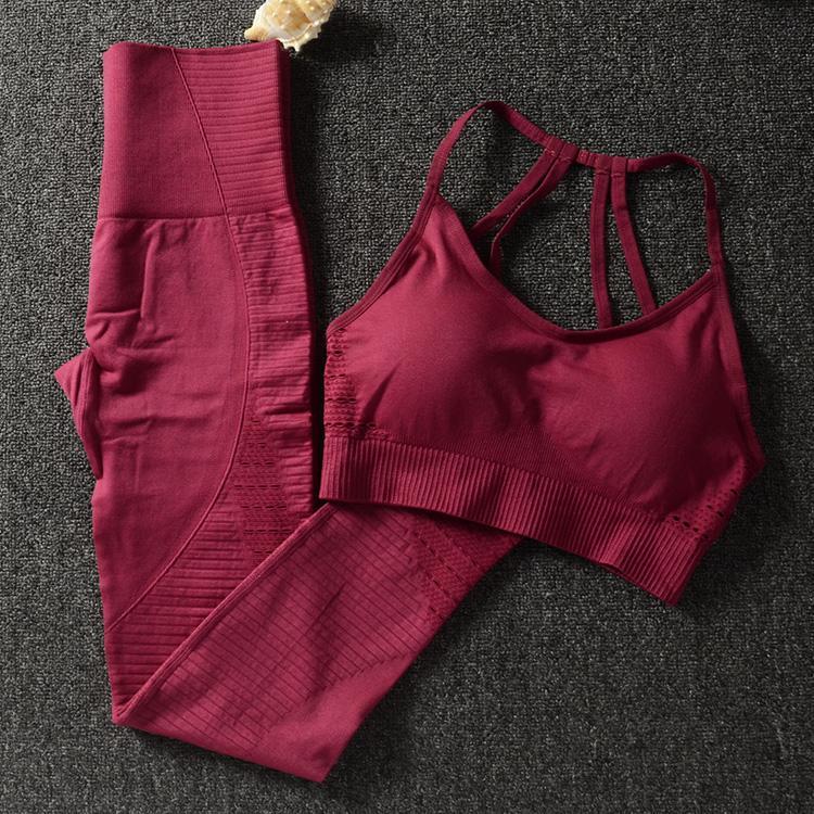 Gym 2 Pièce Set Vêtements D'entraînement Pour Les Femmes Soutien-Gorge Et Leggings Ensemble Vêtements de Sport Pour Les Femmes Gym Vêtements Athlétique Yoga Set SH190901