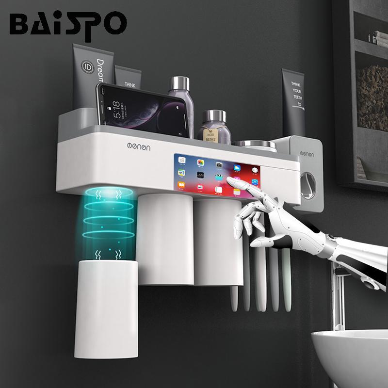 BAISPO Inicio Accesorios de baño Sets magnética Titular de adsorción cepillo de dientes con pasta de dientes dispensador del exprimidor de almacenamiento en rack T200506