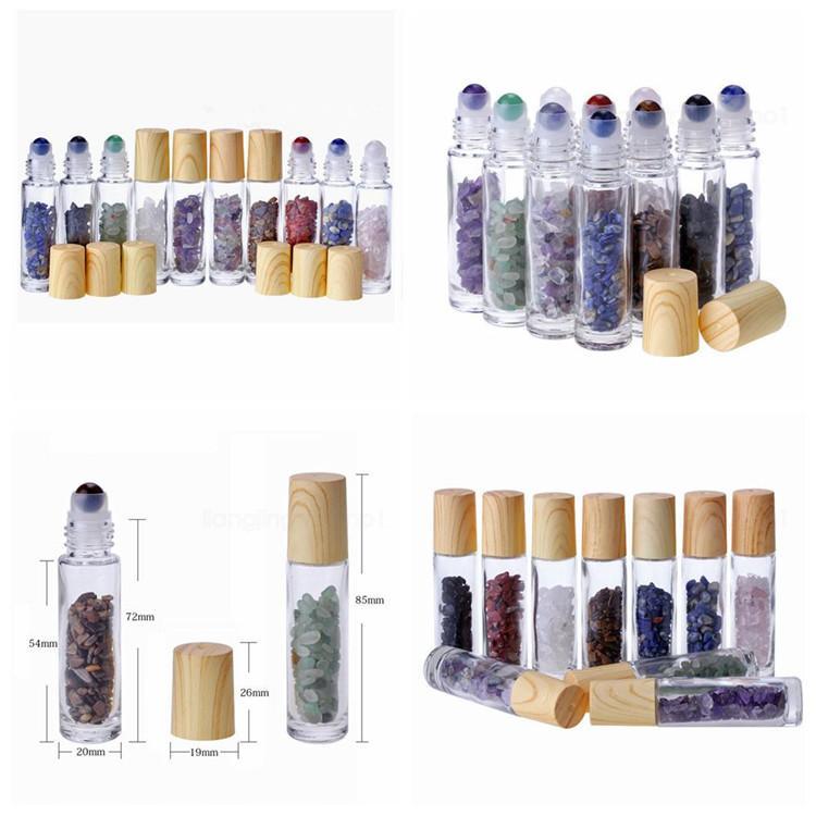 10 مل من زيت منتشر واضح لفة زجاجية على زجاجات عطر كريستال كوارتز طبيعي قناني كرات الحبش الحجرية T9i00167