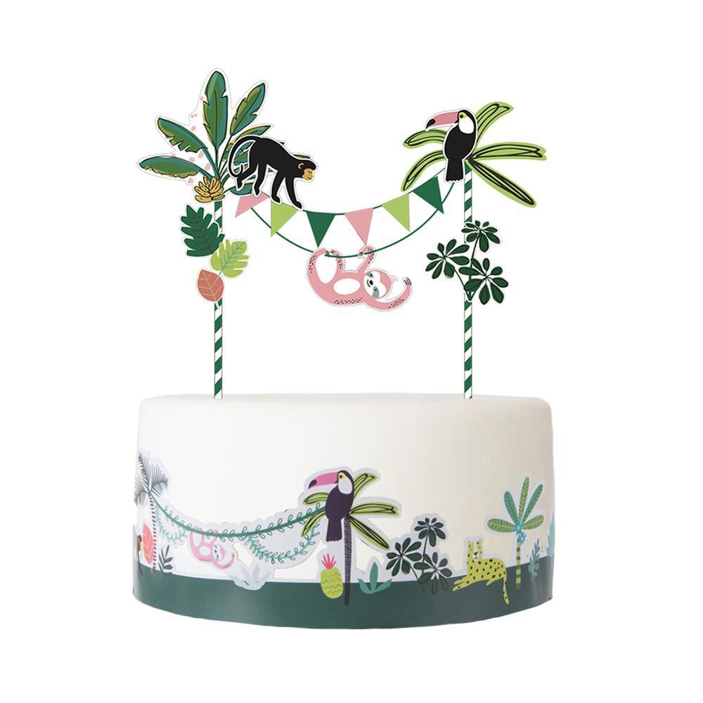 Orman Parti Kek Süslemeleri Kiti Kek Topper Sarıcı Hayvan Tema Woodland Doğum Günü Partisi Bebek Duş Yaz Tropikal Düğün