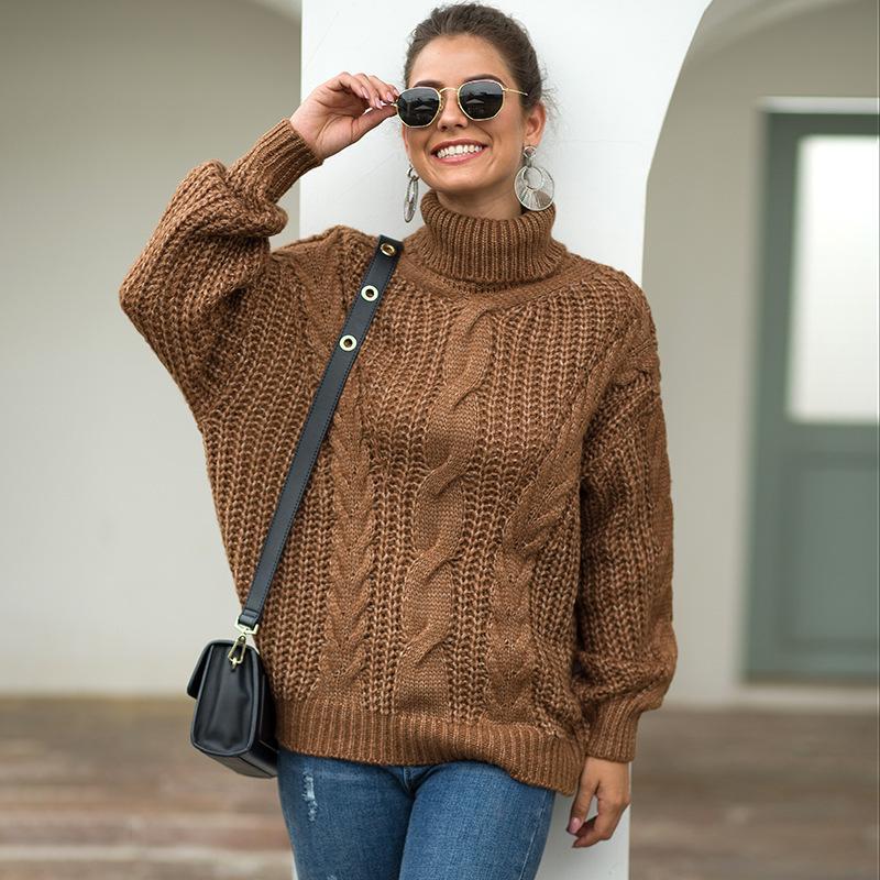 Maglione a collo alto donna autunno inverno maglione lavorato a maglia spesso manica lunga pullover caldo pull femme longue ez *