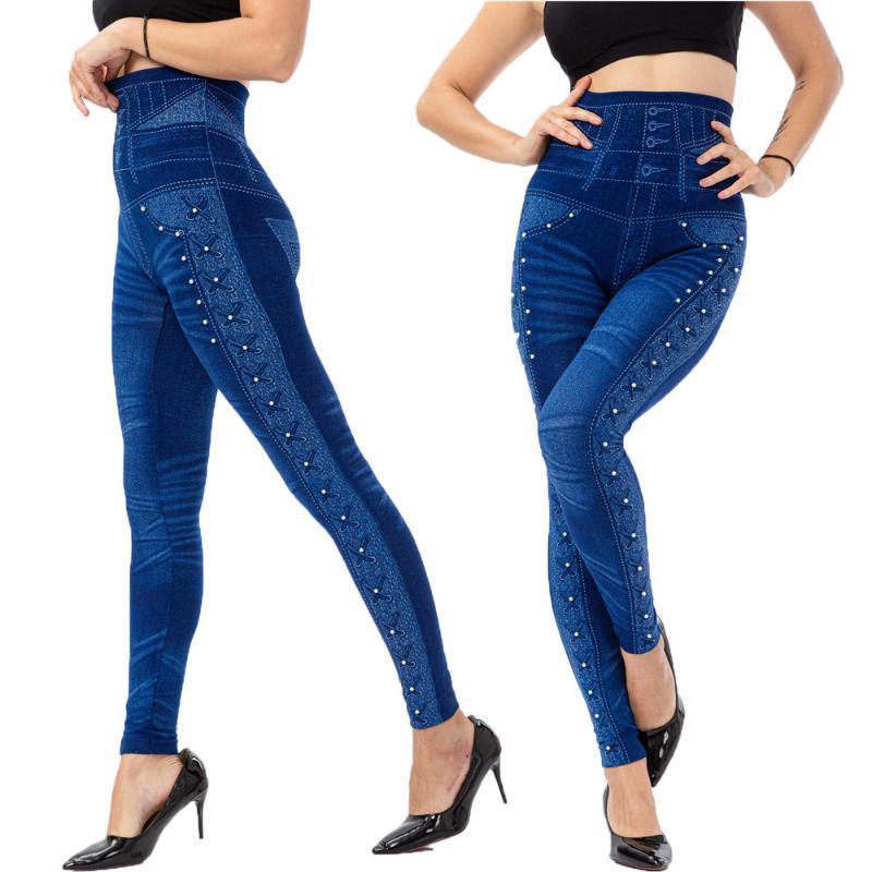 Kadın Tayt 2021 Yüksek Bel Boncuklu İmitasyon Denim Streç İnce Ayak Bileği Uzunlukta Pantolon