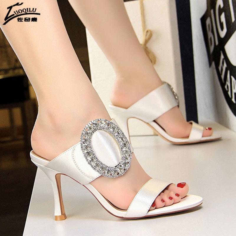 oro cristallo dei sandali alti talloni di raso scarpe da sposa bianchi da sposa signore tacchi partito punta di pigolio pattini della donna 2020