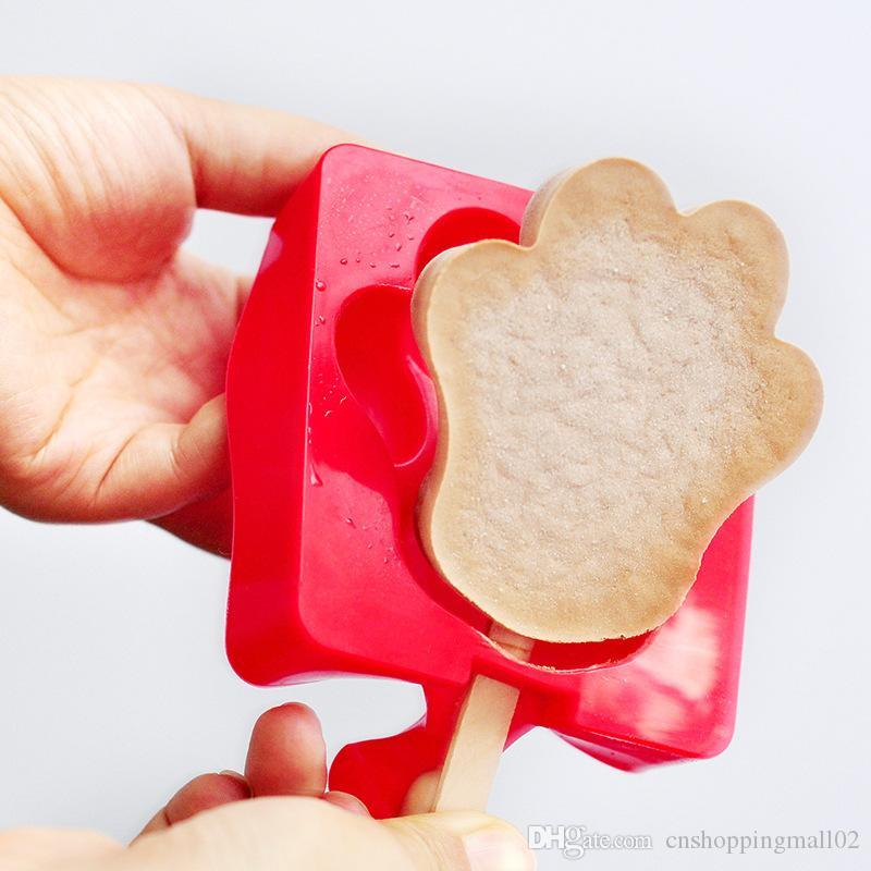 Dos desenhos animados DIY Silicone Ice Cream Mold picolé Moldes Criador Titular Mold congelado de gelo com picolé varas Ferramentas da cozinha